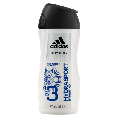 Adidas Hydra Sport 3 In 1 Body, Hair & Face Shower Gel For Men 250ml