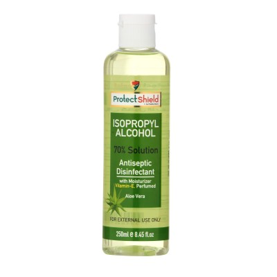 Isopropyl Alcohol 70% Solution Antiseptic Disinfectant With Moisturizer Vitamin-E Aloe Vera 250ml