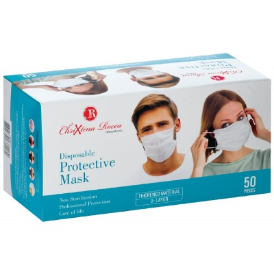 50 pcs Disposable three Layer White Face Protection Mask